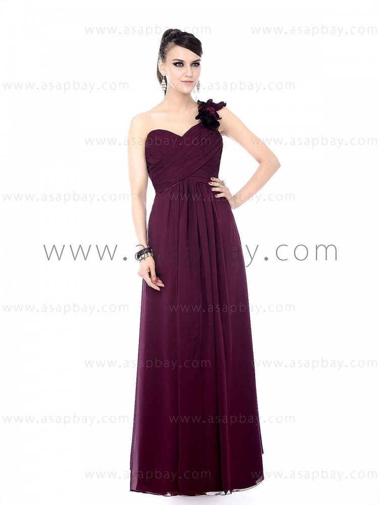 asapbay sexy classy dream chiffon one shoulder sweetheart floor length sheath/column red evening dress ruched