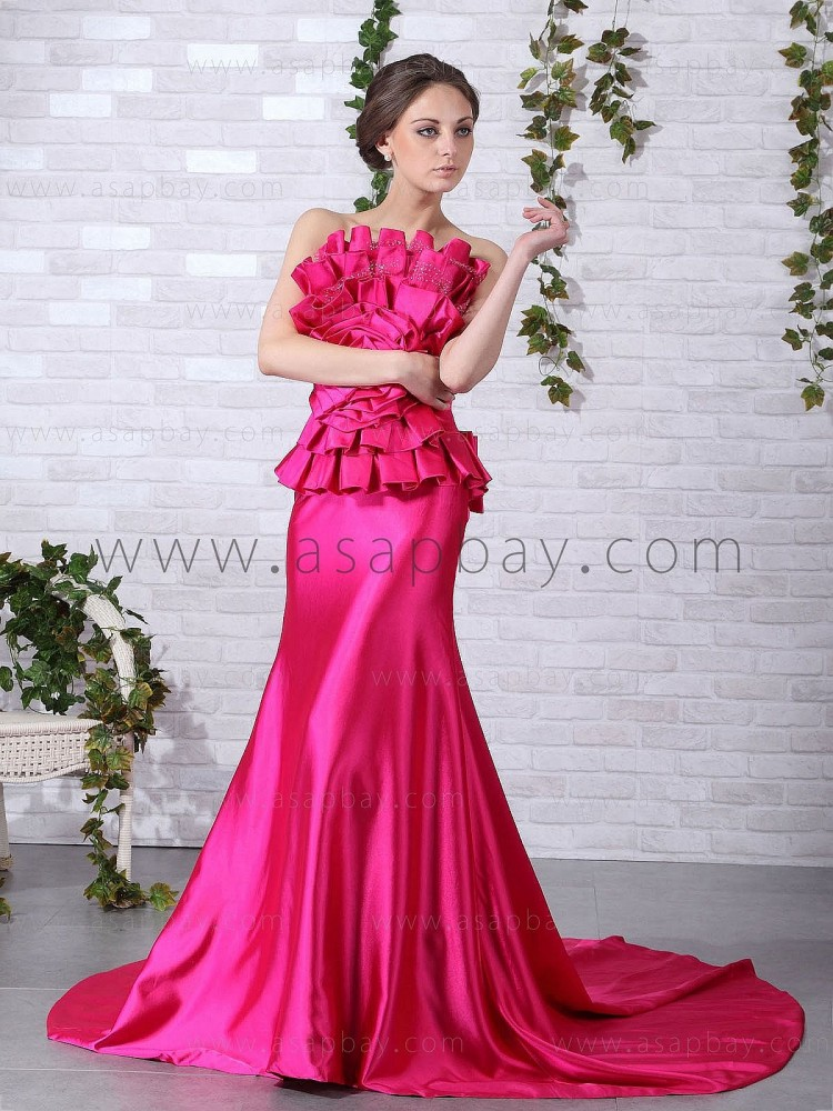 asapbay sexy classy stunning elastic satin strapless sweep/brush train pink trumpet/mermaid evening dress