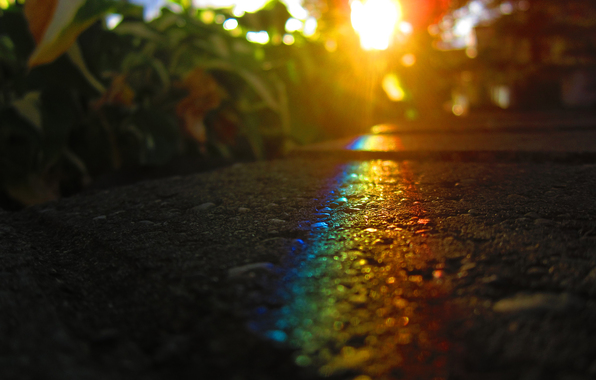 asphalt, sun, light, rainbow