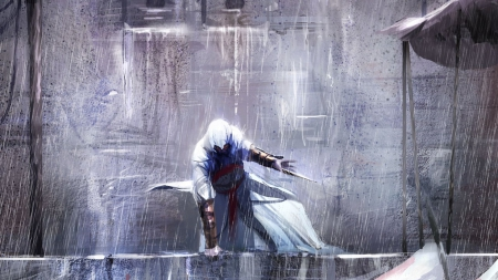 assassin, assassins creed, rain, street