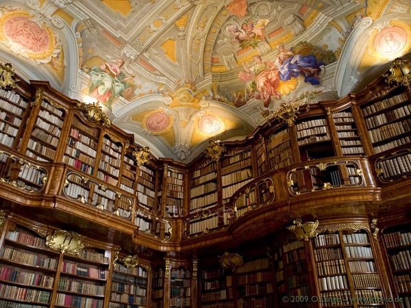 austria, st. florian monastery, library, art