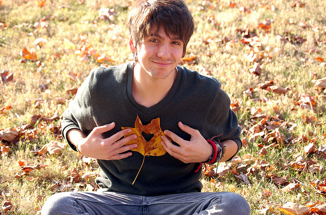 autumn, boy, fall, heart, leaf