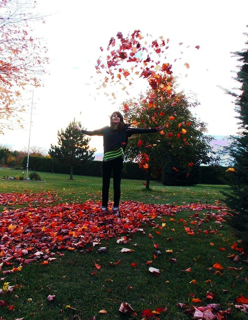 autumn, girl, cute, color, fall