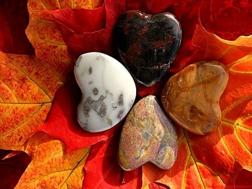 autumn, heart, love, stones, leaves