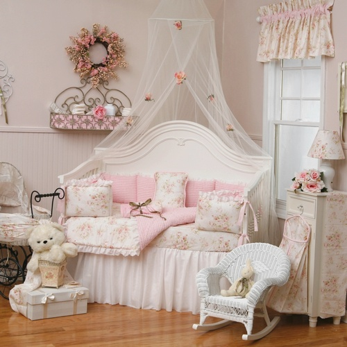 antique, baby, girl bedroom, pink, vintage look