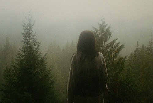 back, dark, female, fog, foggy