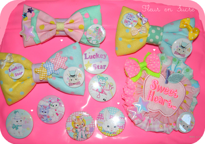 badge, bow, cute, fairy kei, heart