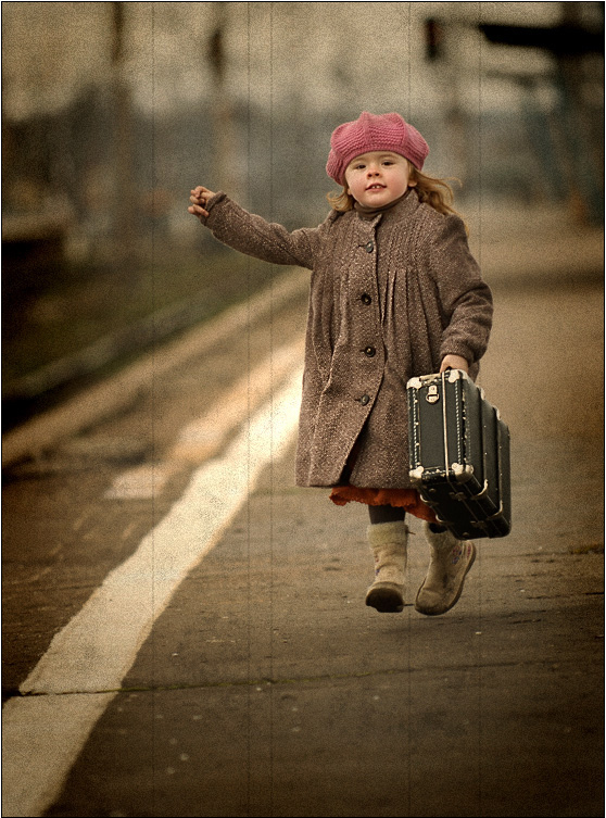 bag, leaving, little girl, lost train, running