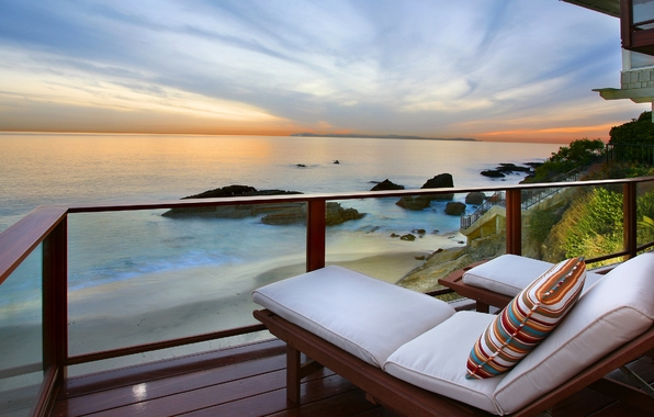 balcony, bed, sea, sunset