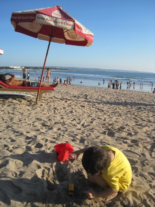 bali beach, my nephew, playing there