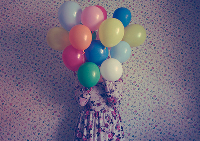 balloons, blue, cute, floral, girl