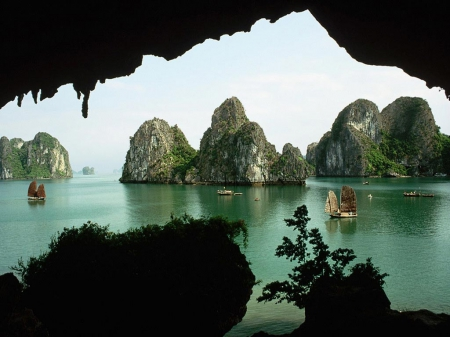 bay, boats, halong bay