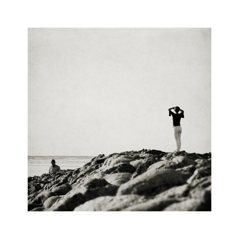 beach, couple, black and white, sky, view