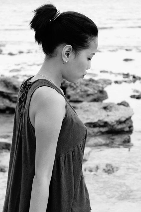 beach, girl, blackwhite