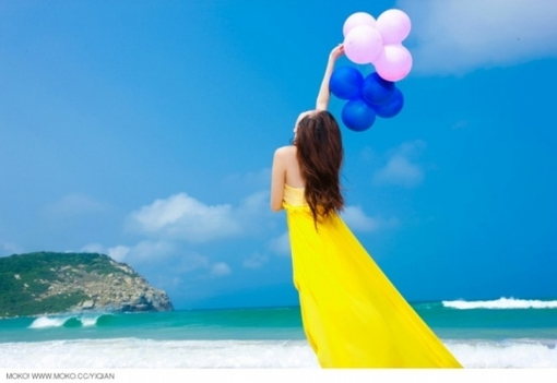 beach, yellow, seascape, balloons, bright