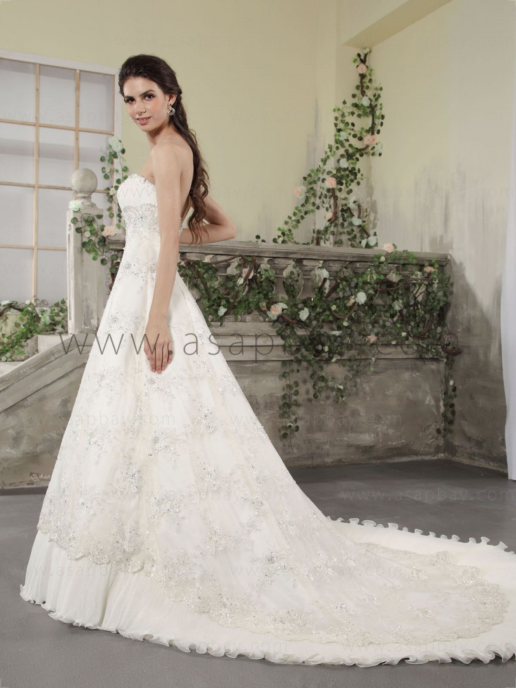 beading crystal lace luxury chapel train strapless ivory a-line wedding dress