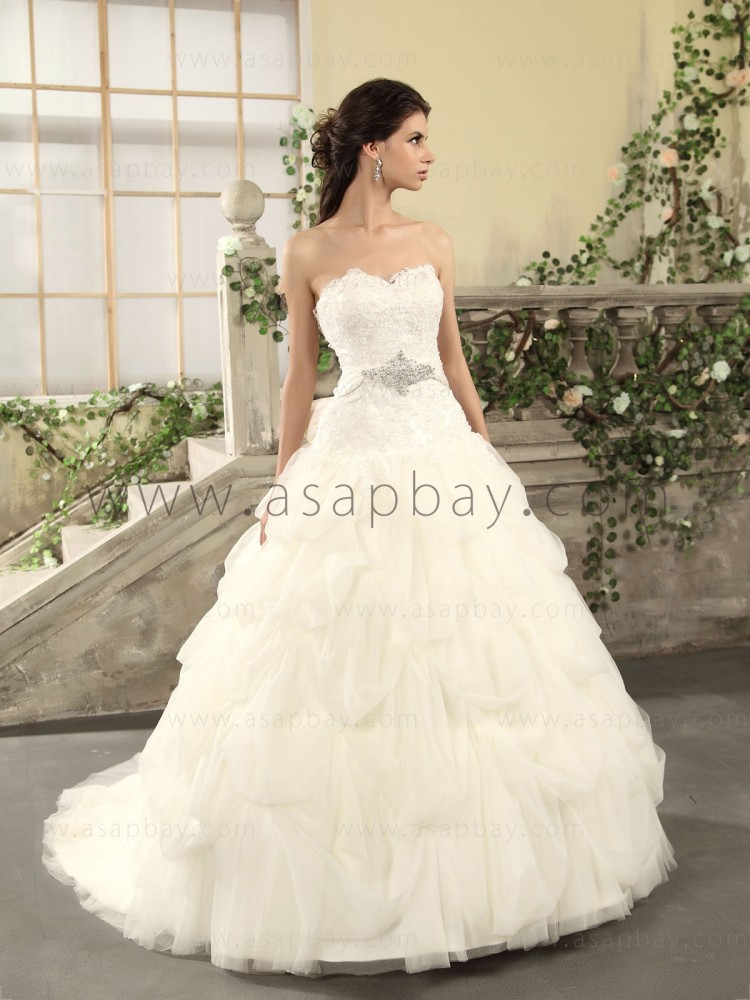 beading cute adorable tulle luxury chapel train sweetheart ivory ball gown wedding dress