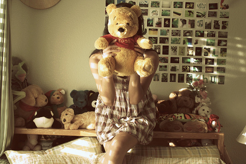 art, bear, beautiful, couple, cute, faceless, fashion, girl, hair, photography, pooh, pretty, room