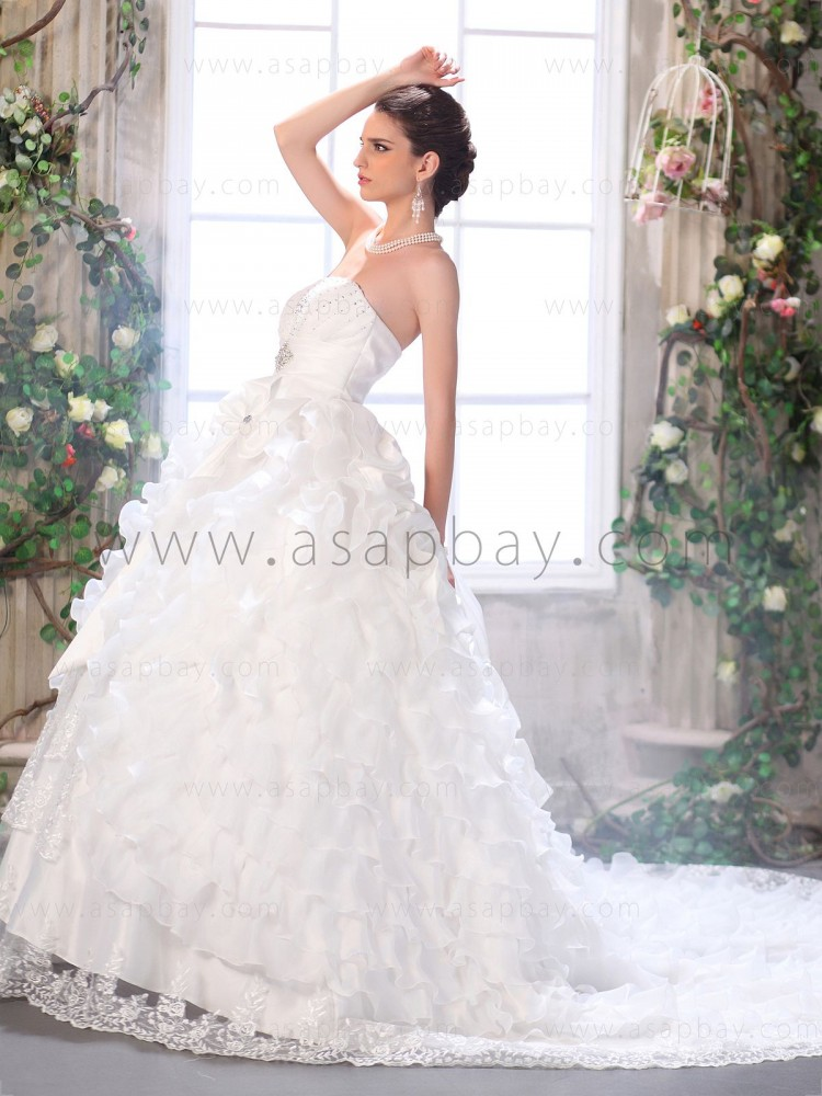 beautiful classy dream crystal lace strapless ivory chapel train ball gown wedding dress
