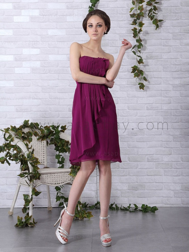 beautiful fashion elegant girl chiffon strapless knee length red a line party dress