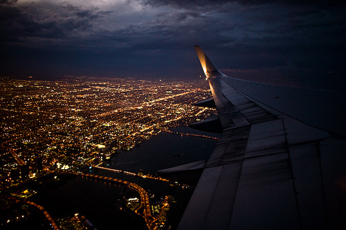beautiful, fly, airplane, travel, lights