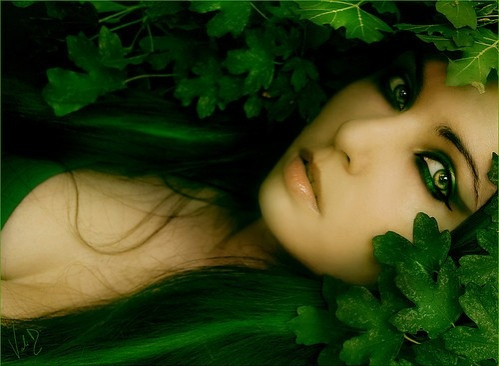 beauty, nature, green, girl, makeup