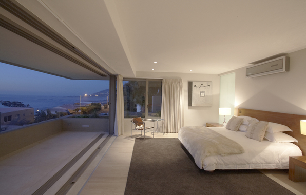 bed, balcony