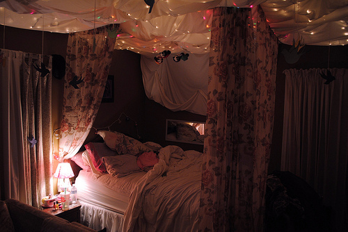 bedroom, canopy, girl, lights