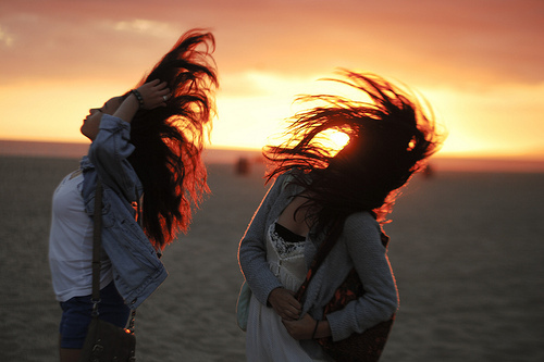 best friends, beach, cute, hair