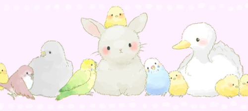 birds, bunny, chick, cute, duck