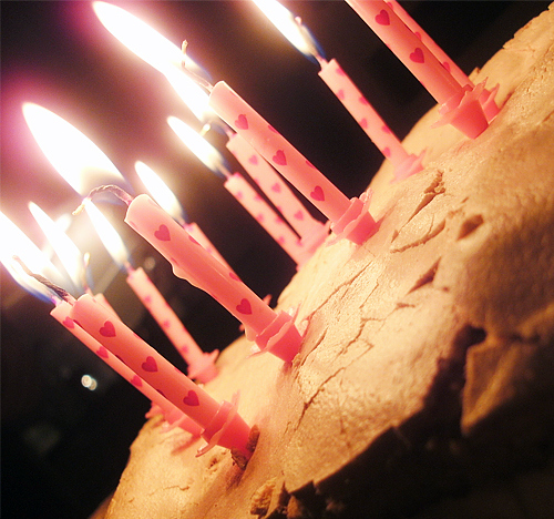 birthday, cake, candle, candles, heart