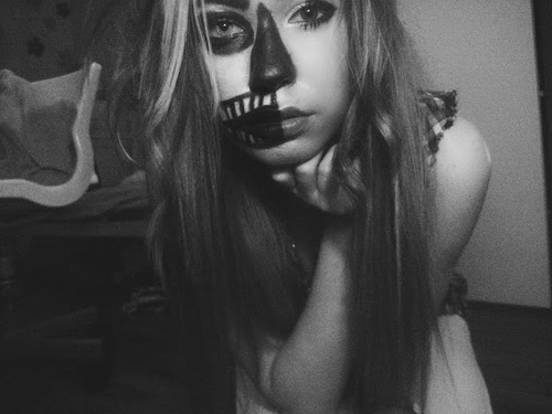 b&w, black and white, girl, hair, long hair, scary, scene hair, woman