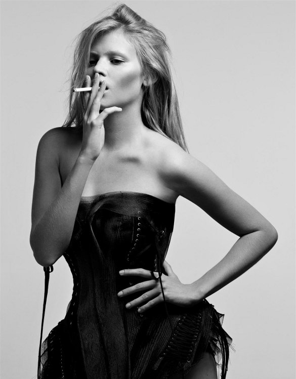 black and white, cigarette, fashion, lara stone, model