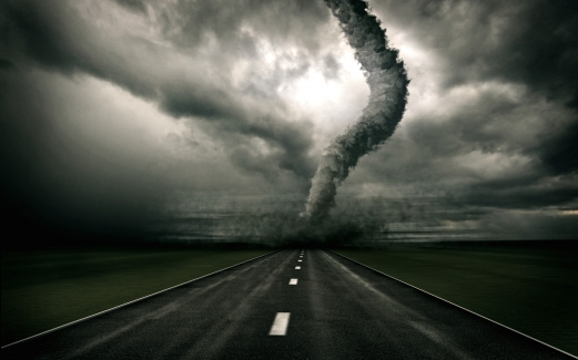 black and white, the road, tornado