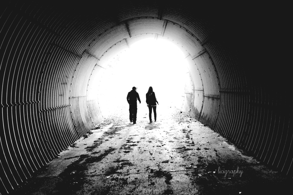 black and white, tunnel, couple, boy and girl, light