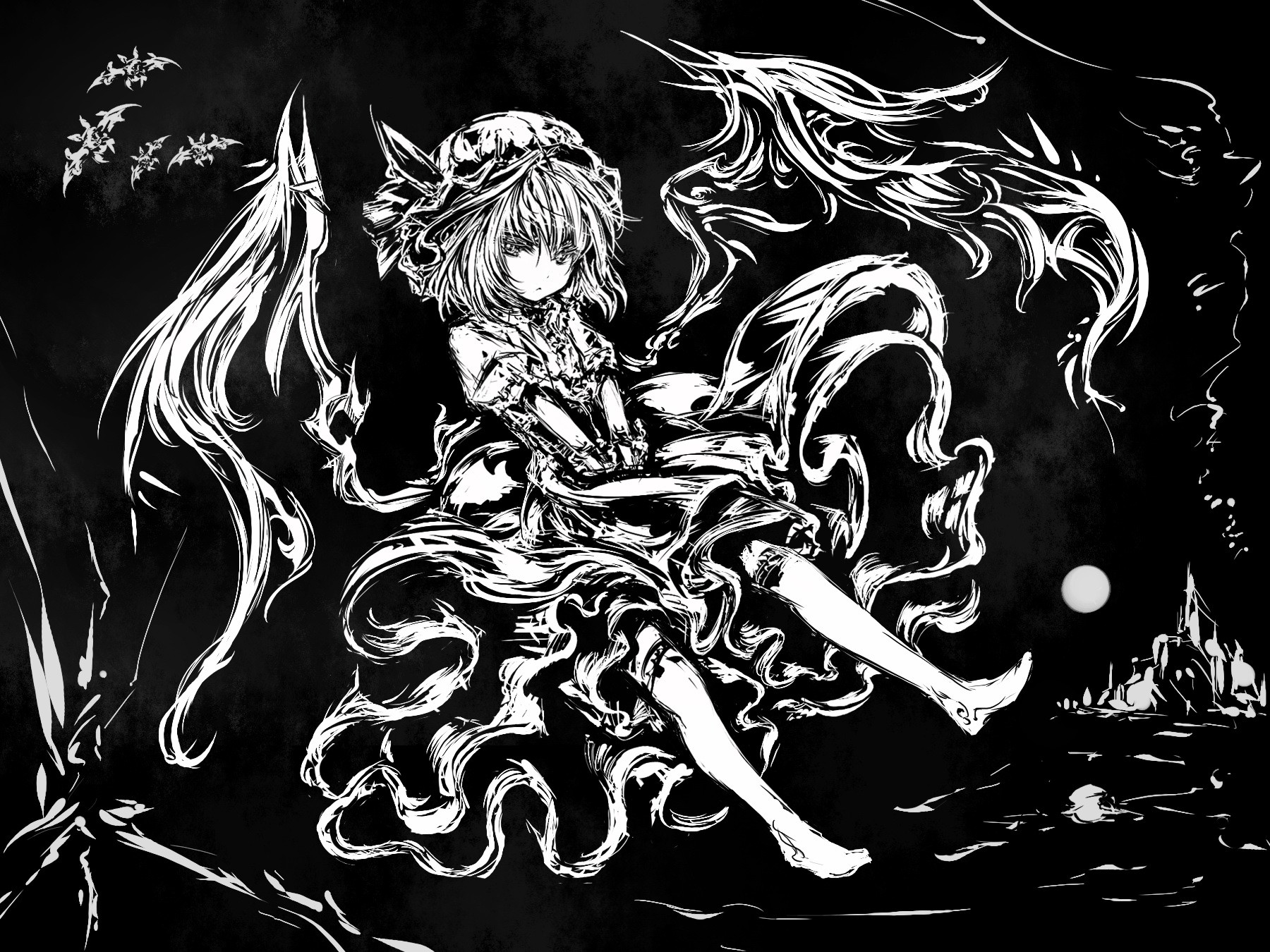 black and white, video games, touhou