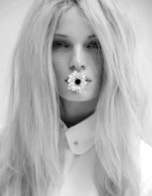 art, beautiful, black, black and white, blonde, couple, cute, damn, fashion, flower, hair, photography, pretty