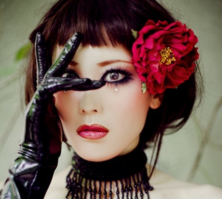 black, exotic, flower, red gloves