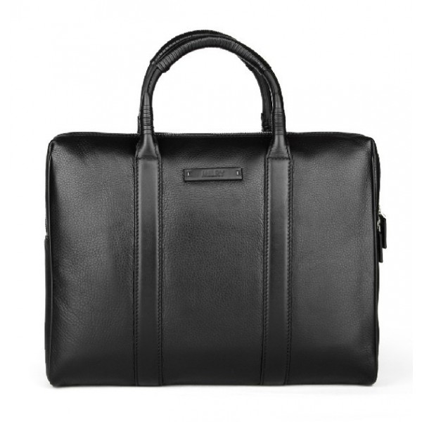 black leather business men briefcase for 15 inch laptop bag