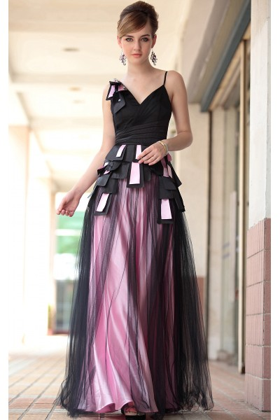 black spaghetti strap v-neck organza backless evening dinner dress s609