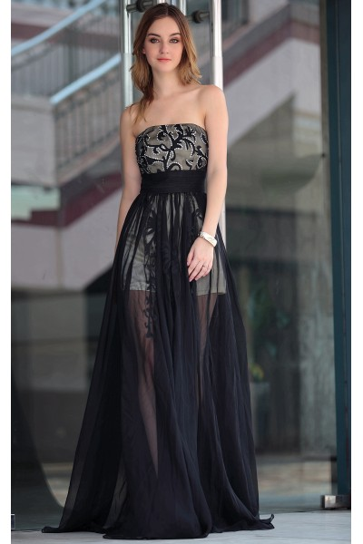 black strapless applique tencel short evening party dress s622