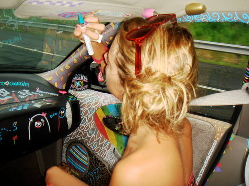 blonde, car, colorful, design, girl