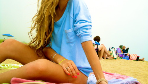blonde girl, beach