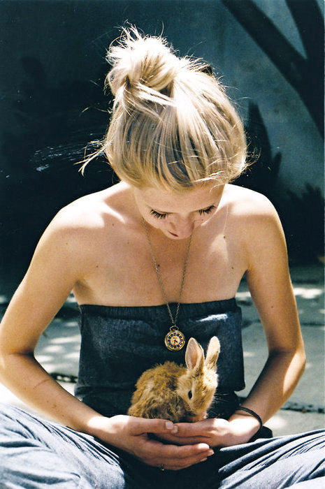 blonde, girl, cute, adorable, rabbit
