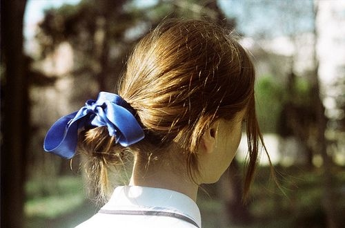 blue, bow, brunette, bun, fashion