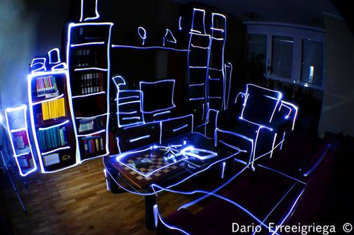 blue, light painting, lights, photography, room