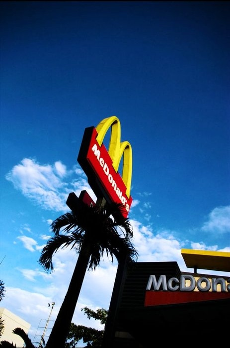 blue, mc donalds, red, sky, yellow