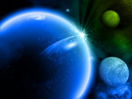 blue, planets, rays, space