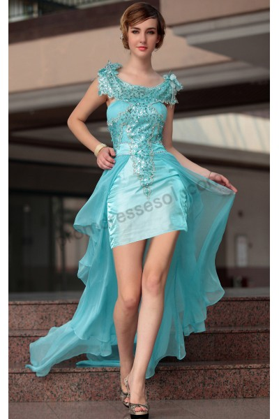 blue sleeveless sequins flower chiffon short party ball dress s661