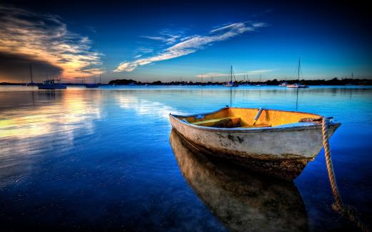 boat, calm, the horizon